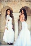 Wedding fashion and beauty salon. wedding dress on two pretty women at column. stock photo