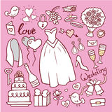 Wedding fashion bride dress doodle style vector illustration. Stock Photography