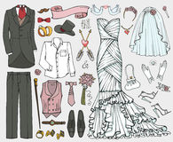 Wedding fashion.Doodle bride,groom dress,clothing set Royalty Free Stock Photo
