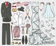 Wedding fashion.Doodle bride,groom dress,clothing set Royalty Free Stock Photo