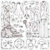 Wedding fashion.Doodle bride,groom dress,linear decor Royalty Free Stock Image