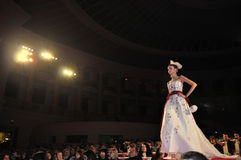 Wedding Fashion Show. Model in bridal dress on the catwalk, at Wedding Fashion Show Stock Photo