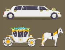 Wedding fashion transportation traditional auto expensive retro ceremony bride transport and romantic groom marriage Royalty Free Stock Photo