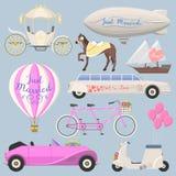 Wedding fashion transportation vector illustration. Stock Photos