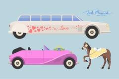 Wedding fashion transportation vector illustration. Royalty Free Stock Image