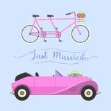 Wedding fashion transportation vector illustration. Royalty Free Stock Images