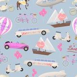 Wedding fashion transportation vector seamless pattern. Royalty Free Stock Photo