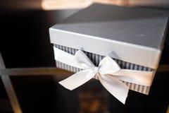 Wedding favor box. On table closeup royalty free stock image