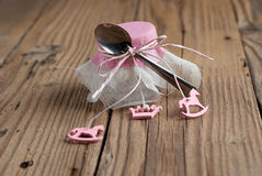 Wedding favor. On old wooden table stock images