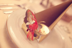 Wedding favor on plate Royalty Free Stock Photography