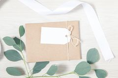 Wedding Favor Tag Mockup, Wedding Thank You Tag. Template royalty free stock photos