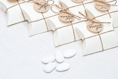 Wedding favors. Box and candy Stock Photos