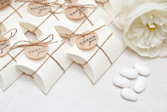 Wedding favors. Box and candy Royalty Free Stock Images