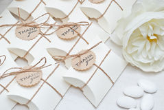 Wedding favors. Box and candy Stock Images