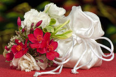 Wedding favors and flowers Stock Images