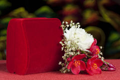 Wedding favors and flowers Stock Photography