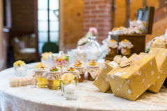 Wedding favors. Wedding gifts for wedding guest royalty free stock photos