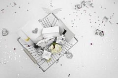 Wedding Favors in a shopping basket Stock Images