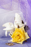 Wedding favors and ring Royalty Free Stock Photography