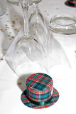 Wedding favour. Scottish tartan hat as a wedding favour on tables Stock Image