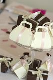 Wedding favours. Wedding favors in a glass bowl on the wedding table Royalty Free Stock Image