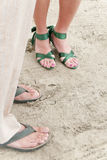 Wedding feet on beach Royalty Free Stock Images