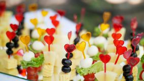 Wedding, festive reception, canapes on a buffet of snacks.  stock video