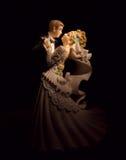 Wedding figurines on black  Royalty Free Stock Photo