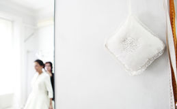 Wedding Fitting Room. With pins and meter Stock Photo