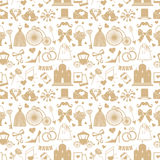 Wedding Flat Design elements in seamless pattern Royalty Free Stock Photography