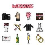 Wedding flat icon set Stock Image