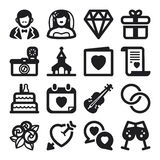 Wedding flat icons. Black Stock Photos