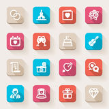 Wedding flat icons. Colorful. Set of flat icons about weddings in a square with long shadow Royalty Free Stock Photography