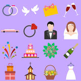 Wedding flat icons set Stock Image