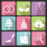 Wedding Flat icons for Web and Mobile. Vector Stock Photo