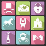 Wedding Flat icons for Web and Mobile.Vector Stock Photo