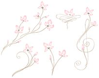 Wedding Fleurs. Delicate blossoms weave themselves gracefully onto the page. Beautifully simplistic would make a charming bridal invitation set. Great for note vector illustration