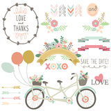 Wedding Flora Vintage Bicycles Elements Stock Photos