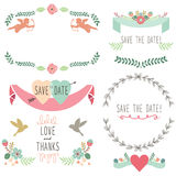 Wedding Flora Vintage Laurel Wreath Elements Royalty Free Stock Photos