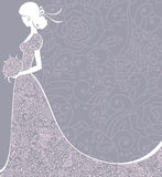 Wedding background. Wedding floral background with bride. Vector illustration Stock Images