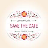 Wedding floral badge. vintage vector label for stock illustration