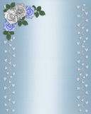 Wedding Floral Border blue and white roses Royalty Free Stock Images