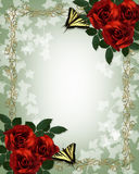 Wedding floral border Red Roses Butterflies royalty free illustration