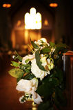 Wedding floral bouquet inside church Stock Image
