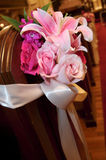 Wedding floral bouquet inside church Stock Photos