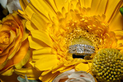 Wedding Floral Bouquet and Wedding Rings. Amongst the bridal flowers Royalty Free Stock Photo