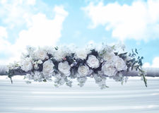 Wedding floral decorations. Pastel wedding floral decorations against sky Royalty Free Stock Photos