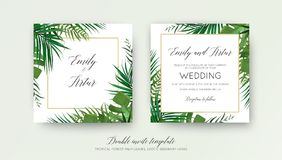 Wedding floral double invite card design with vector watercolor. Style tropical fan palm tree green leaves, exotic forest greenery herbs & elegant golden frame Royalty Free Stock Photo