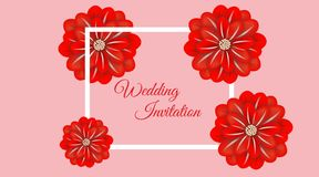 Wedding floral frame paper art. Vector illustration royalty free illustration