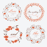 Wedding floral frames Royalty Free Stock Images